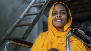 Arjuman, in her home in Bangladesh