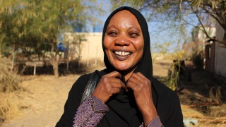 A visually impaired woman in Sudan