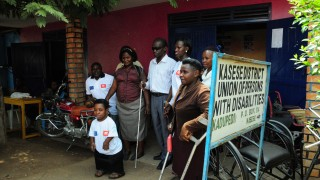 A group of disability activists outside their office in Uganda